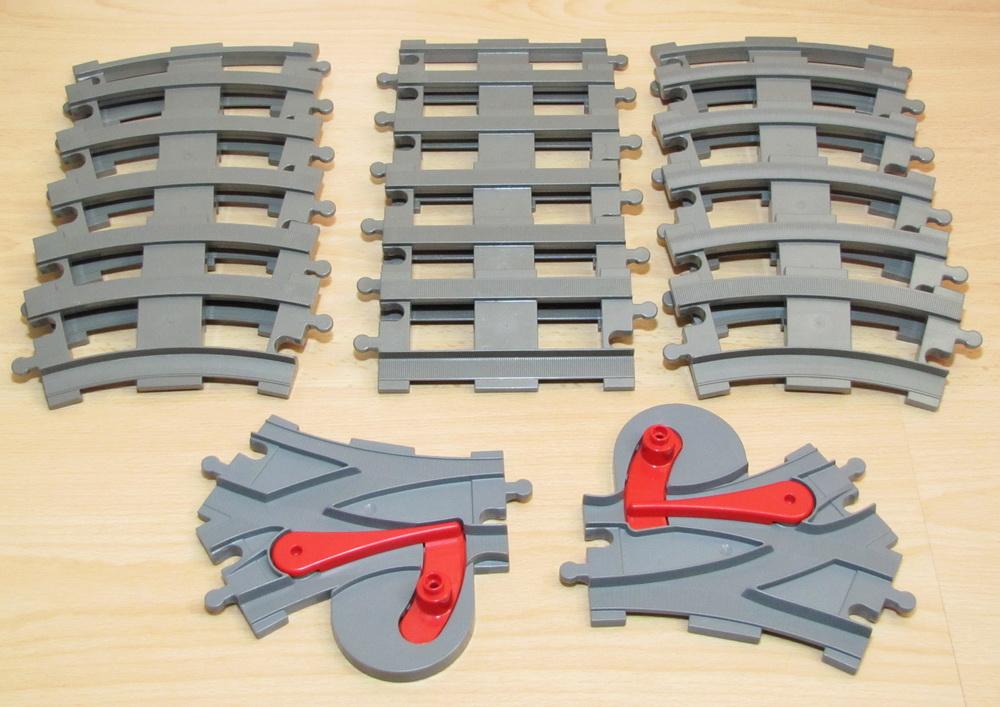 LEGO DUPLO EISENBAHN Schienen 6 X KURVEN KURVE GLEIS ALTES GRAU DUNKEL GRAU